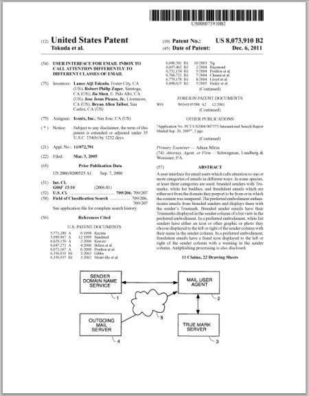 US Patent 8,073,910